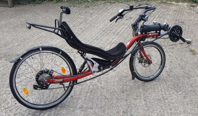 nazca fuego recumbent bike fitted with a bafang 250w electric hub motor conversion kit