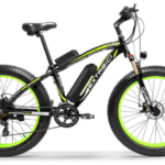 cyrusher xf660 electric fat bike in black and green colour scheme