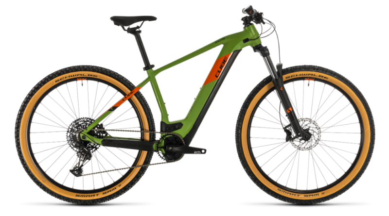 cube reaction ex625 electric mountain bike in green with gumwall tyres